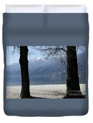 Sand Beach On An Alpine Lake Duvet Cover