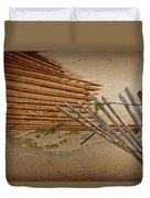 Sand Fence Falling Down On The Beach Duvet Cover