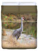Sandhill Crane Beauty By The Pond Duvet Cover
