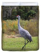 Sandhill In The Grass With Wildflowers Duvet Cover