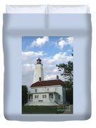 Sandy Hook Lighthouse And Building Duvet Cover