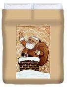 Santa Claus Gifts Original Coffee Painting Duvet Cover