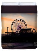 Santa Monica Pier Ferris Wheel Sunset Duvet Cover by Paul Velgos