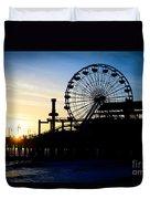 Santa Monica Pier Ferris Wheel Sunset Southern California Duvet Cover by Paul Velgos