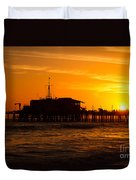 Santa Monica Pier Sunset Duvet Cover