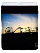 Santa Monica Pier Sunset Photo Duvet Cover by Paul Velgos