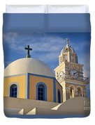 Santorini Church Duvet Cover