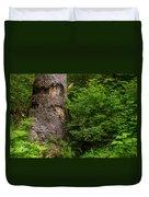 Sasquatch Rubbing Tree Duvet Cover