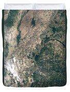 Satellite Image Of Flood Waters Duvet Cover