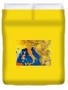 Satellite Image Of Italy Duvet Cover