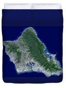 Satellite Image Of Oahu, Hawaii Duvet Cover