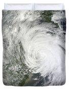 Satellite Image Of Tropical Storm Muifa Duvet Cover