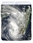 Satellite View Of Cyclone Giovanna Duvet Cover