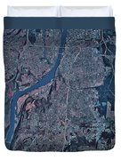 Satellite View Of Little Rock, Arkansas Duvet Cover