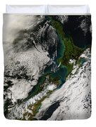 Satellite View Of New Zealand Duvet Cover