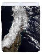 Satellite View Of Northeast Japan Duvet Cover by Stocktrek Images