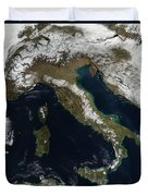 Satellite View Of Snow In Italy Duvet Cover