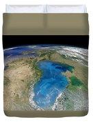 Satellite View Of Swirling Blue Duvet Cover