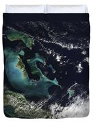 Satellite View Of The Bahama Islands Duvet Cover