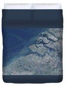 Satellite View Of The Belgium Coastline Duvet Cover