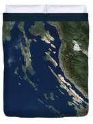 Satellite View Of The Croatian Islands Duvet Cover
