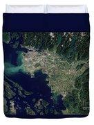 Satellite View Of The Frasier River Duvet Cover