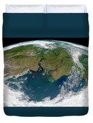 Satellite View Of The Ob And Yenisei Duvet Cover