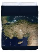 Satellite View Of Turkey And The Island Duvet Cover