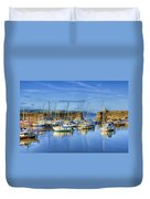Saundersfoot Boats Painted Duvet Cover