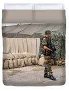 Scenery Of A Checkpoint Used Duvet Cover by Luc De Jaeger