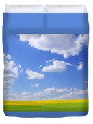 Scenic View Of Meadow And Canola Crop Duvet Cover