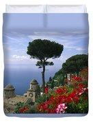 Scenic View Of Villa Rufolo Terrace Duvet Cover