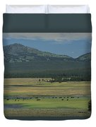 Scenic Wyoming Landscape With Grazing Duvet Cover