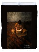 Schoolgirl Sitting On Wood Floor Reading By Candlelight Duvet Cover