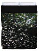 Schooling Fish Under Red Mangrove  Duvet Cover