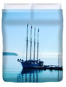 Schooner At Dock Bar Harbor Me Duvet Cover
