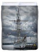 Schooner In Halifax Harbor Duvet Cover