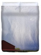 Scifi Storm And Red Barn Duvet Cover