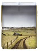 Scottish Borders, Scotland Tire Tracks Duvet Cover by John Short
