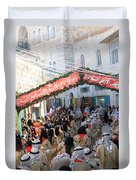 Scouts Marching During Christmas Parade In Bethlehem Duvet Cover