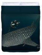 Scuba Diver And Whale Shark, Papua Duvet Cover