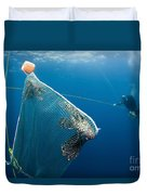 Scuba Diver Nets Invasive Indo-pacific Duvet Cover