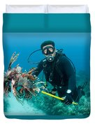 Scuba Diver With Spear Of Invasive Duvet Cover