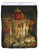 Sculpture Of Wrathful Protective Deity Duvet Cover