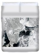 Sea Ice Lines The Coasts Of Sweden Duvet Cover