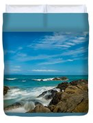 Sea Landscape With Beach Coast Rocks And Blue Sky Duvet Cover