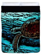 Sea Turtle Swimming Duvet Cover