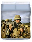 Seabees Carrying A 50-caliber Machine Duvet Cover