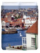 Seagull At Whitby Harbor Duvet Cover by Axiom Photographic