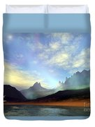 Seagulls Fly Near A Beautiful Island Duvet Cover by Corey Ford